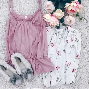 Pretty shabby chic floral pink pajama bottoms